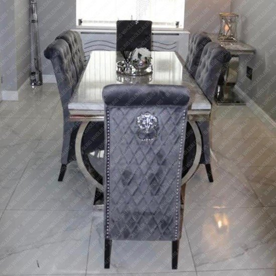 Alaina Marble Dinning Table (Circular Legs) with 6 Barrett Highback Lion Knocker Dining Chairs