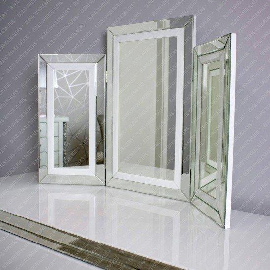 Alba White Mirrored Dressing Table Set