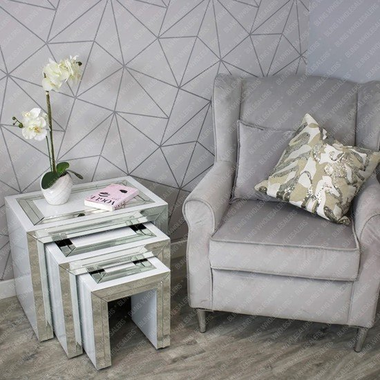 Alba White Mirrored Nest of Tables