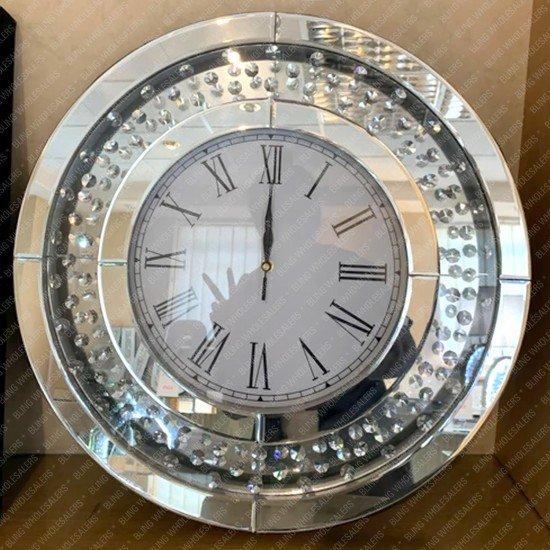 Aviva Floating Crystal Diamond Mirrored Round Wall Clock