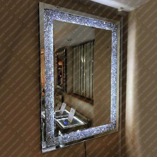 Electra LED Crushed Diamond Rectangular Wall Mirror