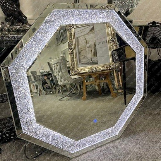 Electra LED Crushed Diamond Octagon Wall Mirror