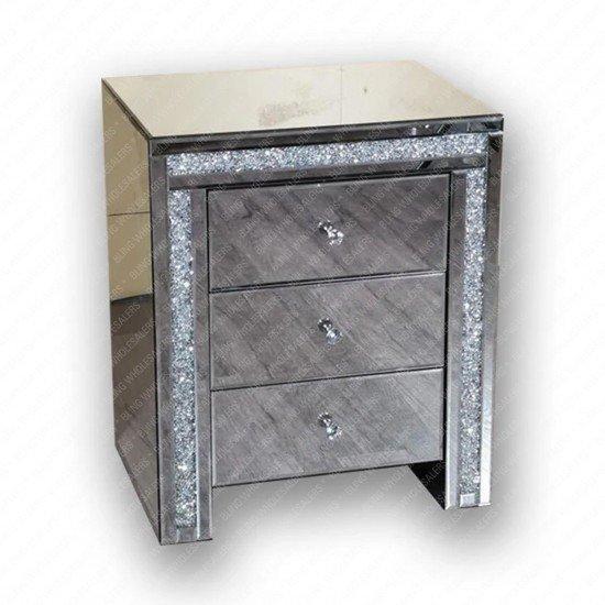 Ella 3 Drawer Bedside Crushed Cabinet