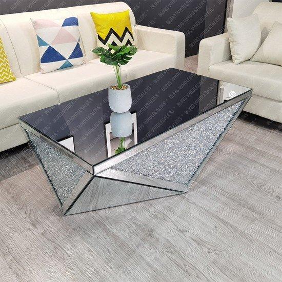 Keva Crushed Diamond Modern Rectangle Coffee Table