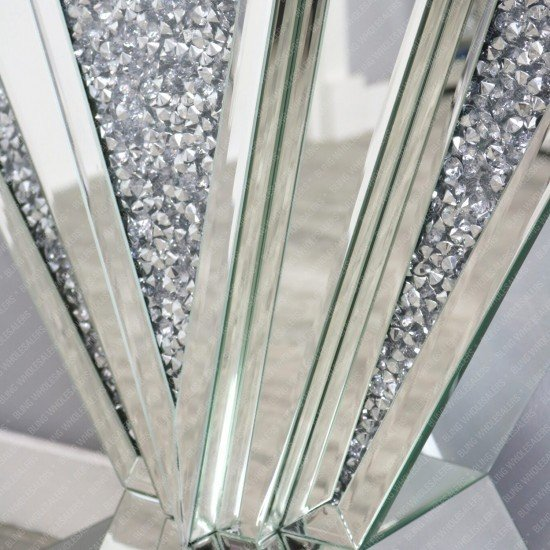 Keva Crushed Diamond Mirrored Fan Console Table