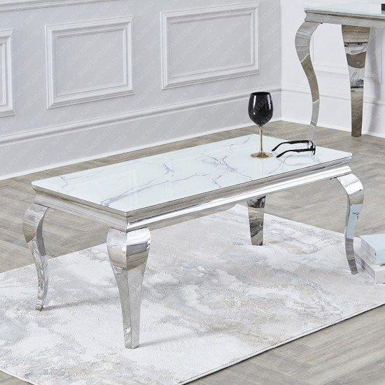 Alaina Stunning Grey Marble Coffee Table with Chrome Legs