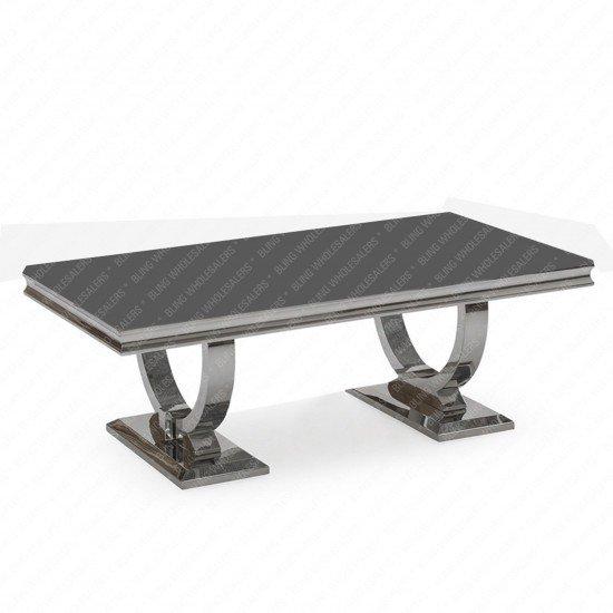 Alaina Stunning Grey Marble Coffee Table with Circular Chrome Legs