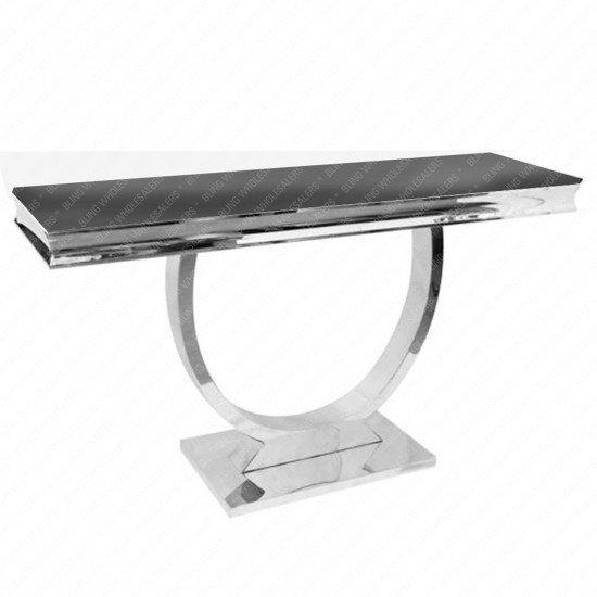 Alaina Grey Marble Console Table with Circular Chrome Legs