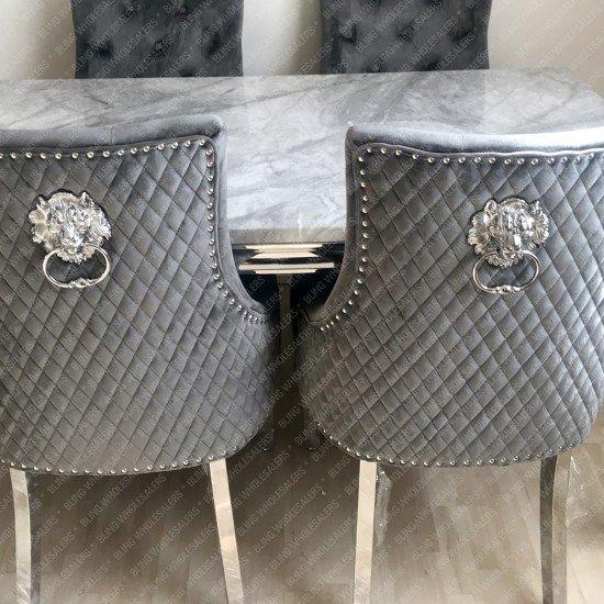 Alaina Stunning Grey Marble Dining Table Set with Chrome Legs & 6 Barrett light grey lion knocker Chairs