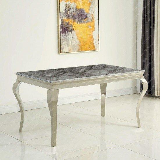 Alaina Stunning Grey Marble Dining Table with Chrome Legs