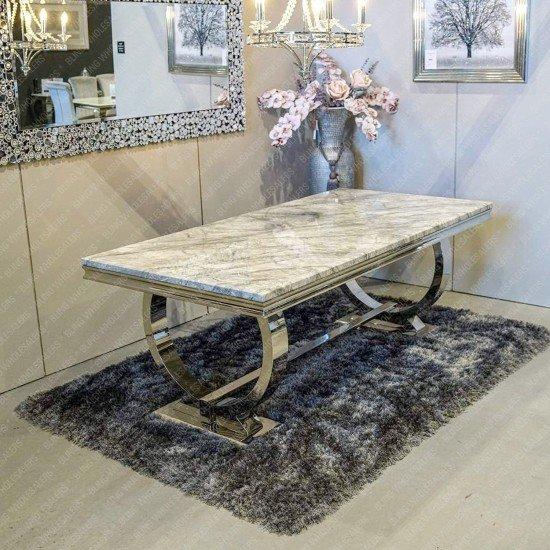 Alaina Stunning Grey Marble Dining Table with Circular Chrome Legs