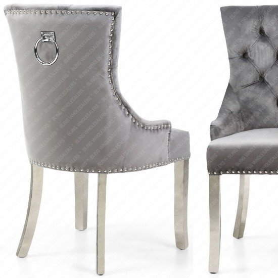 Alaina Marble Dining Table (Circular Legs) with 4 Barrett Silver/Grey Knocker Back Dining Chairs