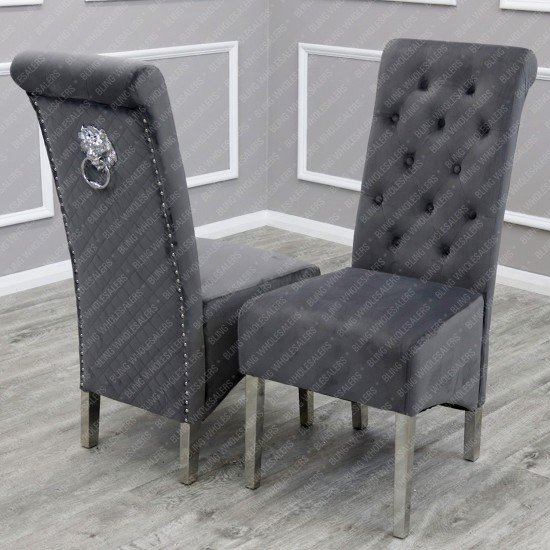 Alaina 1.8m Marble Dining Table (Circular Legs) with 4/6 Grey Emma Lion Knocker Back Dining Chairs