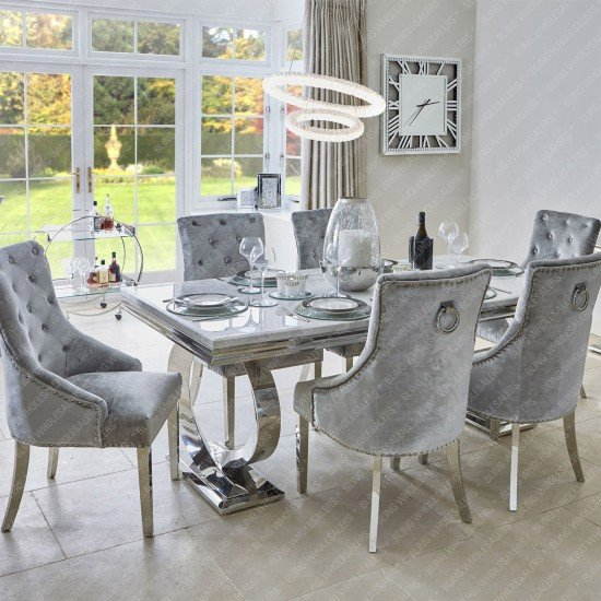 Alaina Marble Dining Table (Circular Legs) with 6 Knocker Back Dining Chairs
