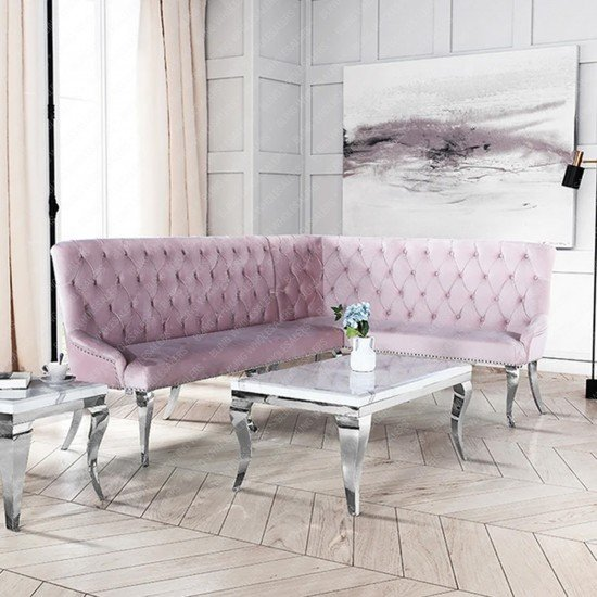 Alaina Corner Sofa Bench with backrest with Chrome Metal Legs