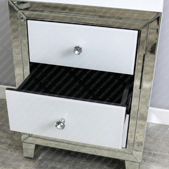 Alba White Mirrored 3 Draw Bedside