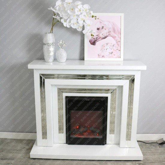 Alba White Mirrored Fireplace