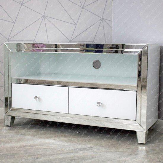 Alba White Mirrored Corner TV Unit