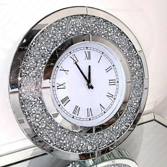 Aviva Round Crushed Diamond Wall Clock