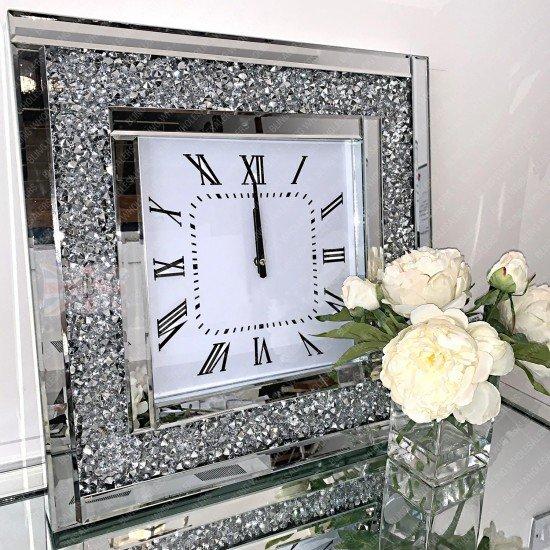 Aviva Square Crushed Diamond Wall Clock