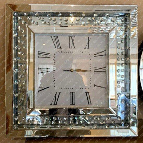 Aviva Floating Crystal Diamond Mirrored Square Wall Clock