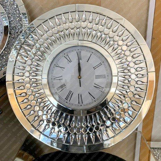 Aviva Tear drop Crystal Diamond Mirrored Round Wall Clock