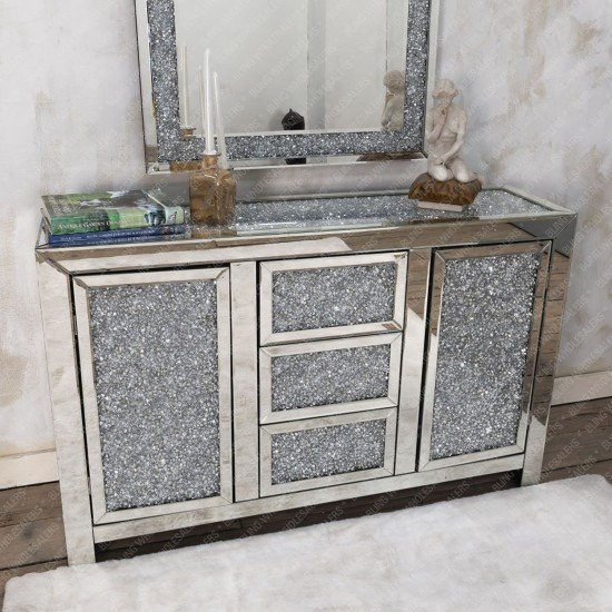 Bella Crushed Diamond Sideboard with Crystal Knobs