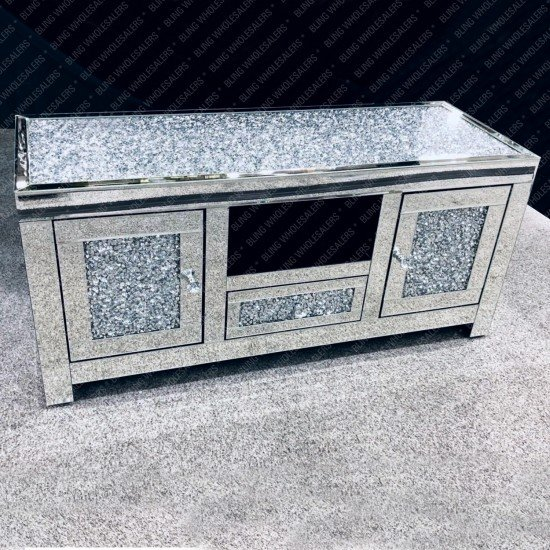 Bella Crushed Diamond TV Unit with Sparkly Crushed top