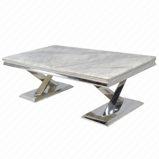 Chester Marble Coffee Table with stainless steel crossed legs