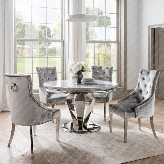 Chester 1.3m Round Marble Dining Table with 4 Duke plain Knocker back chairs (Silver/Grey)