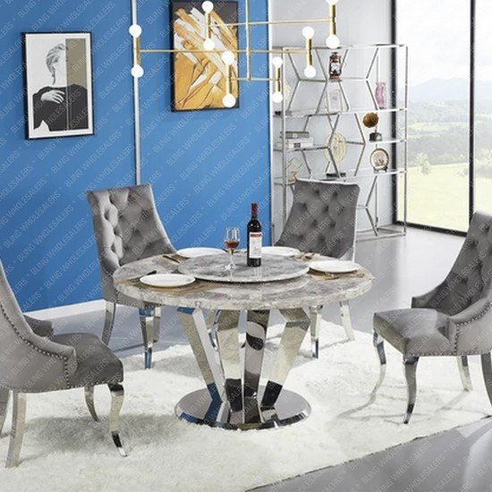 Chester 1.3m Round Marble Dining Table