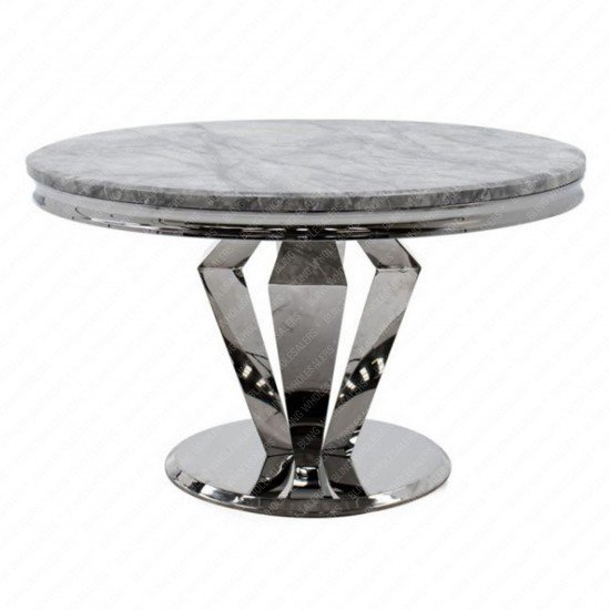 Chester 1.3m Round Marble Dining Table with 4 Duke plain Knocker back chairs (Charcoal)