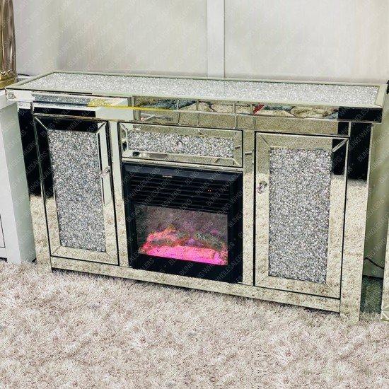 Cyra Stunning Crushed Diamond Fireplace in Sideboard