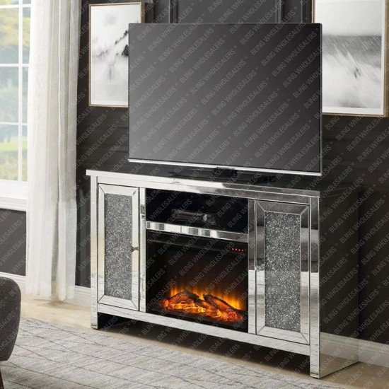 Cyra Stunning Crushed Diamond Fireplace in Sideboard with shelf above fireplace