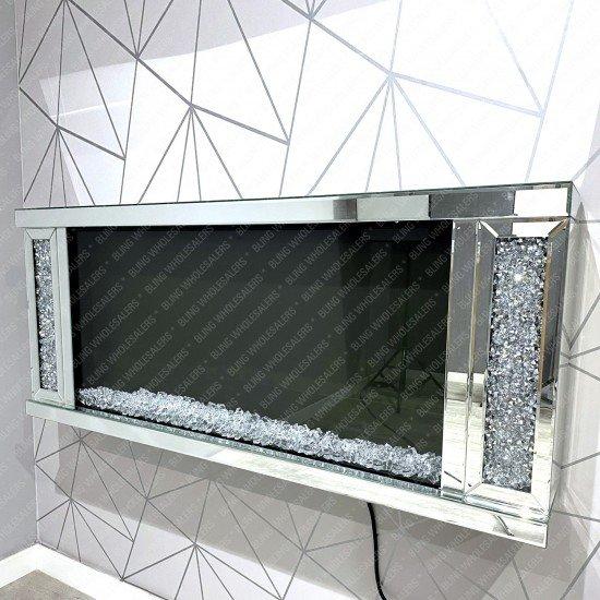 Cyra Stunning Crushed Diamond Floating wall mounted Fireplace