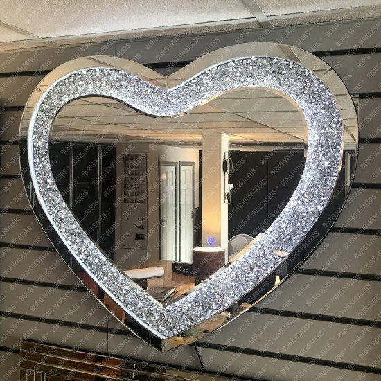 Electra LED Crushed Diamond Heart Shaped Wall Mirror