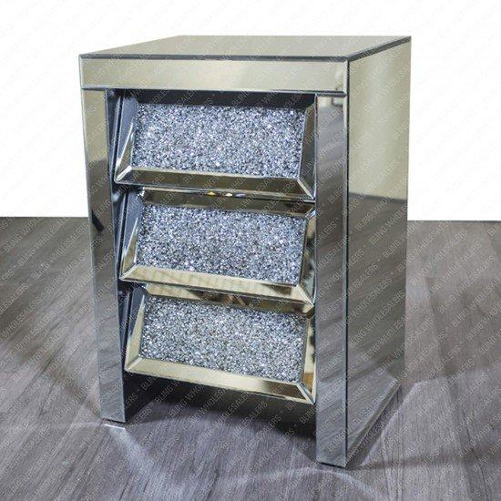Ella 3 Angled Drawer Bedside Crushed Cabinet