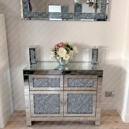 Ella Crushed Diamond 2 Drawers & 2 Side Doors Cabinet (Plain Mirror Top)