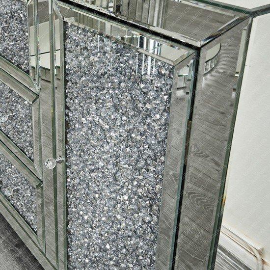 Ella Crushed Diamond Sideboard with Crystal Knobs