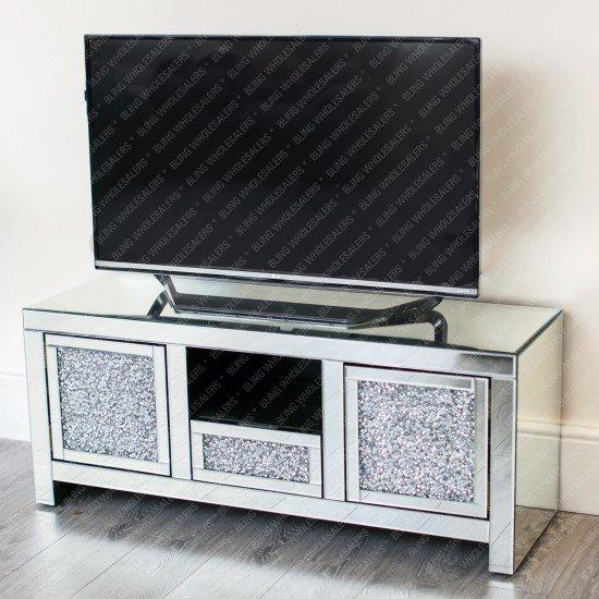 Ella Crushed Diamond TV Unit with plain mirror top