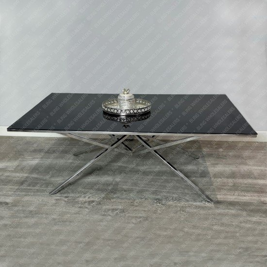 Ethan Rectangle Coffee Table with Black Glass top