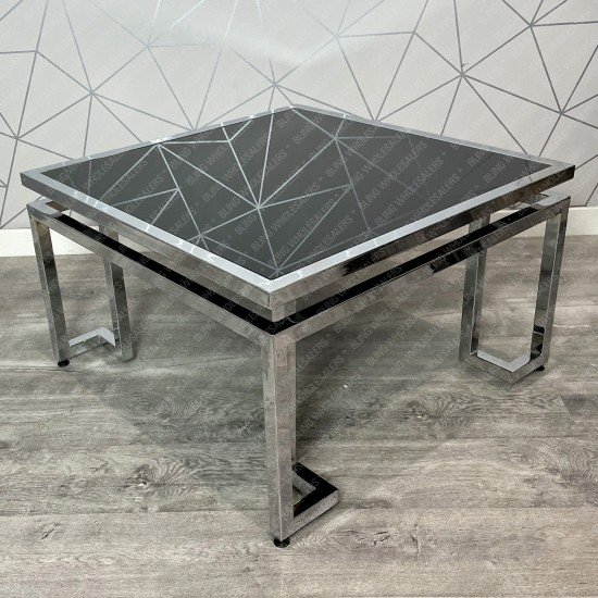 Ethan Square Coffee Table with Black Glass top