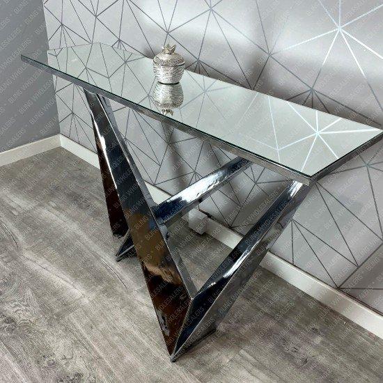 Ethan W Console Table with Black Glass top