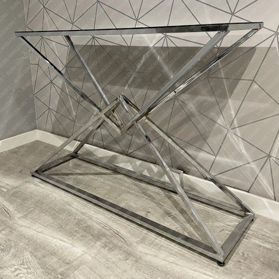 Ethan Criss Cross Console Table with Black Glass top