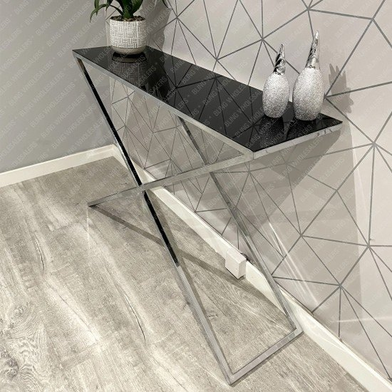 Ethan X Console Table with Black Glass top