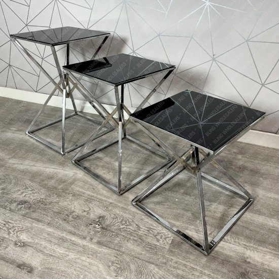 Ethan Square square side tables with Black Glass top