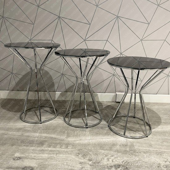 Ethan 3 piece round side tables with Black Glass top