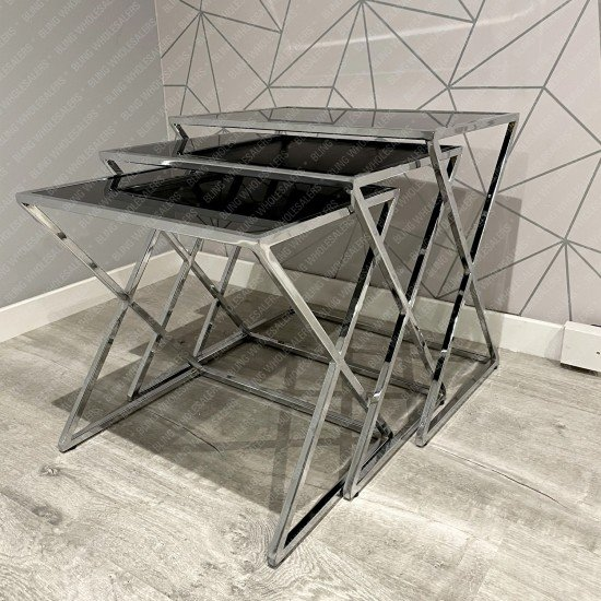 Ethan rectangle nest of tables with black glass top