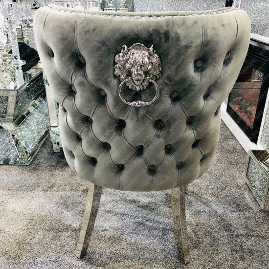 Chelsea Dining Chair with Chrome Lion knocker back
