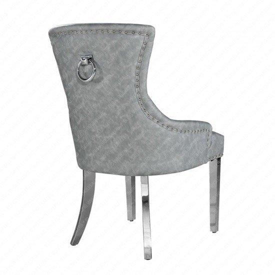 Megan Leatherette Chair with Plain Back & Lion Knocker